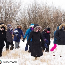 Posted @withrepost • @wildernook Teacher fashion meets prairie winter. Thanks to everyone who came out to @saskoutdoors Below Zero workshop yesterday. It was both crisp and cozy and by the end of the day Jana was right tuckered. #teacherfashion #winterw