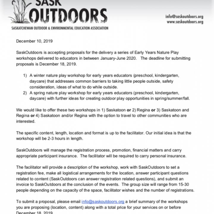 Call for Proposals: Winter Nature Play Workshops