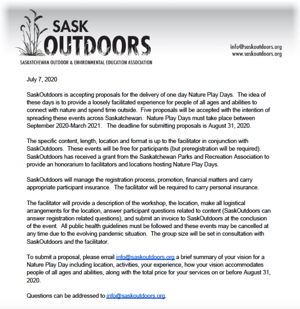Nature Play Day Call for Proposals Extended to September 15