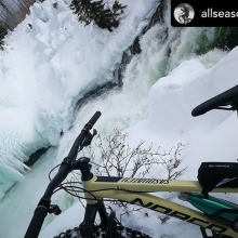 Fat bike ride north of Stanley Mission Posted @withrepost • @allseasonmtb Nistowiak_Falls. #exploresask #fatbike  #trailbiker #mtb #bikelife #instabike #outdoor #norcobike #bicycle #trailbike #trail #allmountain #mtblife #ride #allseasonmtb #fatbiker #a